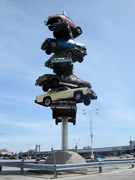 "Famous car ""spindle"" in Berwyn, Illinois' Cermak Shopping Center."